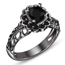 Halo Round Cut Diamond Solid Black Gold Finish 925 Sterling Silver Weddi... - $79.99