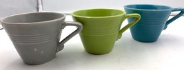 Harlequin Homer Laughlin Tea Cups Chartreuse Green Turquoise Grey  - $23.38