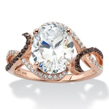 4.16 TCW White and Brown Cubic Zirconia Rose Gold over Silver Crossover ... - $37.82