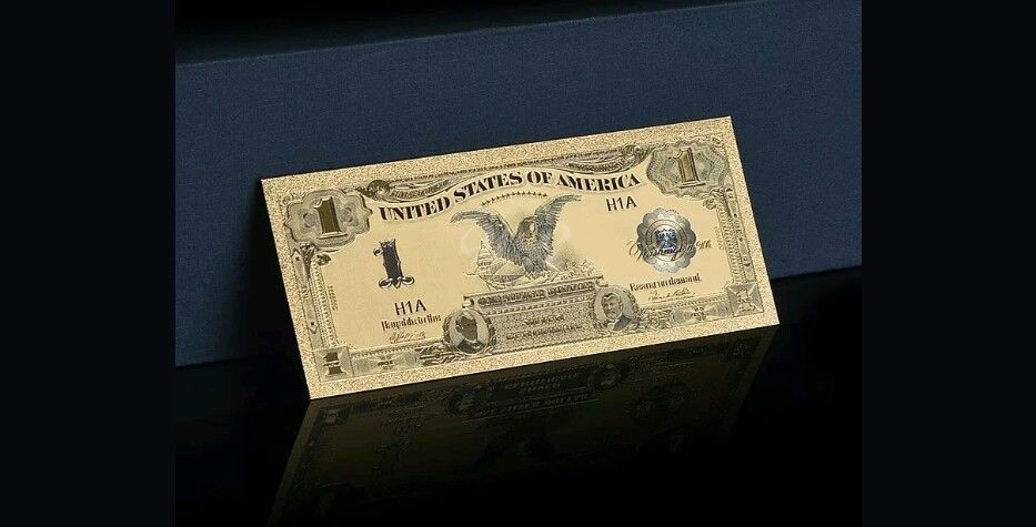 "1899 ""GOLD""$1 SILVER☆CERTIFICATE BLACK EAGLE  Rep.*Banknote ~STUNNING"