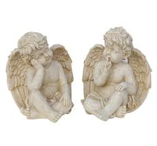 Weathered Stone Pensive Sitting Cherub Angel Ou... - $68.30