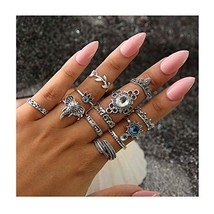 Campsis Boho Knuckle Ring Set Rhinestone Leaves Geometry Elephant Hollow... - $13.16
