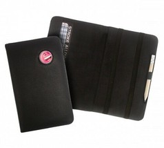 PINK OR YELLOW SMILEY CRESTED BLACK LEATHER GOLF SCORECARD HOLDER BY ASBRI - $15.62