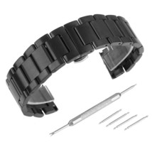 Beauty7 Black 23mm Brushed Finish Stainless Steel Link Wrist Watch Band Kit Brac - $37.56