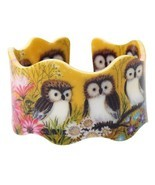 Bonsny Wide Little Owl Pattern Love Bangles Bracelet Jewelry For Women 2... - £12.90 GBP