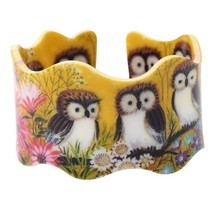 Bonsny Wide Little Owl Pattern Love Bangles Bracelet Jewelry For Women 2... - $15.79