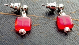 Red, White and Gold Earrings on Surgical Steel Posts and Backs Free Ship... - $15.99