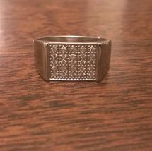 14K WHITE GOLD MEN'S 1/4 CT DIAMOND SQUARE TOP CLUSTER RING - 5 GRAMS  S... - £661.17 GBP