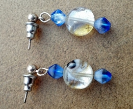 White and Blue Sparkly Earrings on Surgical Steel Posts and Backs Made I... - $15.99