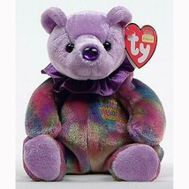 February Birthday Bear Ty Beanie Baby Amethyst Retired MWMT 1st Series - $6.88