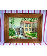 Charming 1960's Paint By Number Grist Mill & Stone Cabin Motif Wood Fram... - $40.00