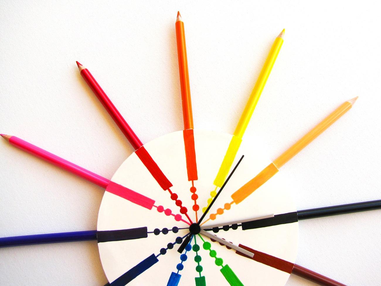 Children pencil wall clock, modern wall clocks, cool clocks, kids clocks contemp