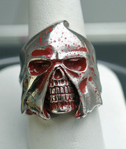 New Executioner Bloody Skull Skeleton death sentence Ring Sterling Silve... - $75.00