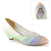 """PINUP COUTURE Lulu-05 Series 1 1/2"""" Kitten Wedge Pumps - Whit-Mint Multi... - $39.95"""