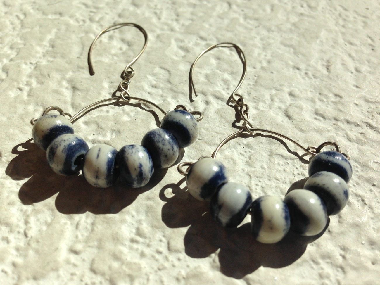 Blue and White Ceramic and Sterling Silver Earrings