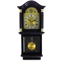Bedford Clock Collection 26 Inch Chiming Pendulum Wall Clock in Antique Mahogany - $130.66