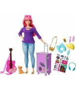 Barbie Doll Daisy Let's Of Travel With Kitten, Luggage, Guitar And 9 Acc... - $234.59