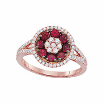 18kt Rose Gold Womens Round Ruby Diamond Flower Cluster Ring 7/8 Cttw - £1,215.35 GBP