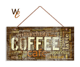 Distressed Coffee Sign, Cafe Mocha Cappuccino Latte Words, Rustic 5x10 Cafe Sign - $11.39