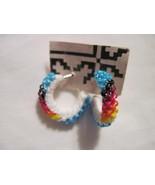Blue beaded hoop pierced earrings - $10.00