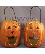 2 Pumpkin Jack O'Lantern Tea Candle Lamps/ Lanterns NEW - $4.99