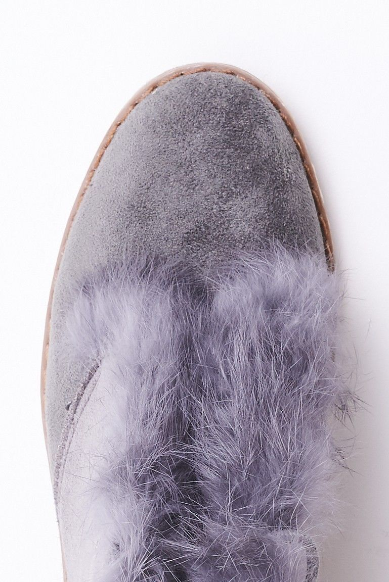 Grey Faux Fur Chelsea Boots Sizes : 3, 4, 5, 6, 7, 8 Brand New