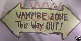 Vampire Zone This Way Out Halloween Arrow Sign NEW - $3.99