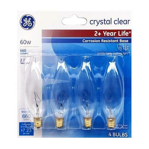 4 GE Lighting Crystal Clear 660 Lumens 60W Incandescent Chandelier Light Bulbs