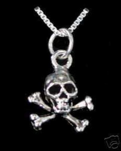 Skeleton Skull and Cross Bone Pendant Charm Silver