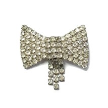 Silver Bow Rhinestone Pageant Pin - $45.00