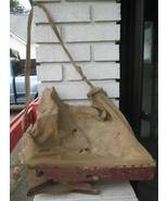 Antique Mechanical Hand Seed Spreader Canvas Bag & Wood - $100.00