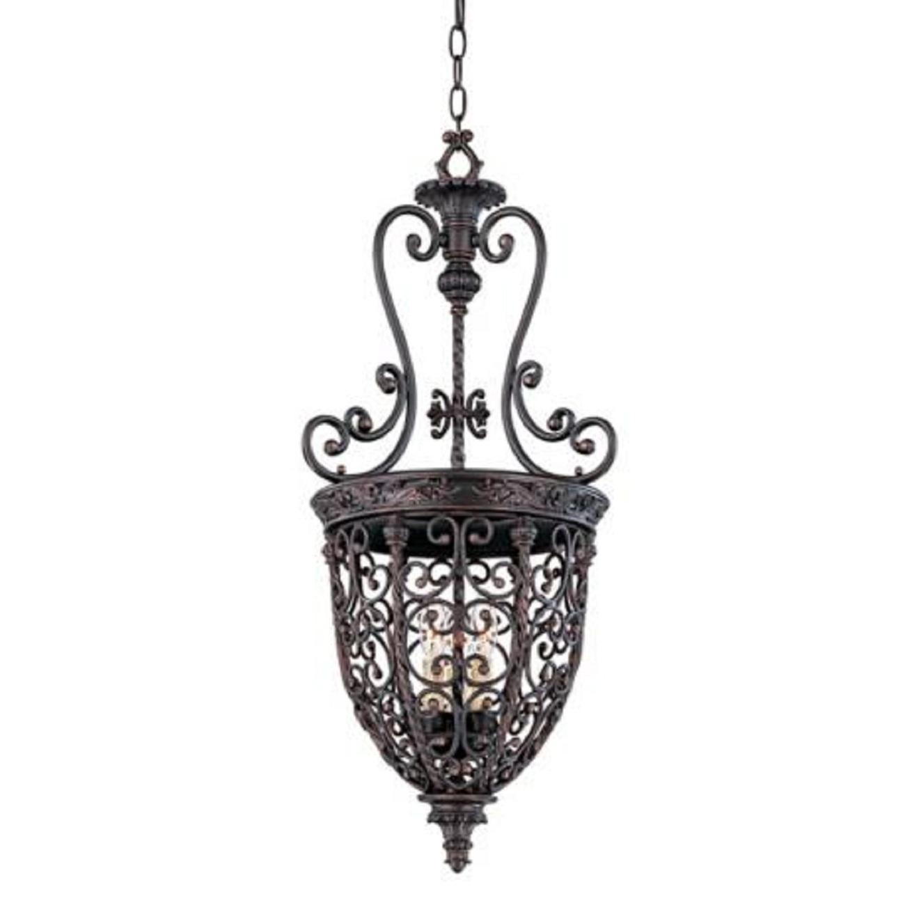 vintage antique style rubbed bronze finish open scroll cage chandelier