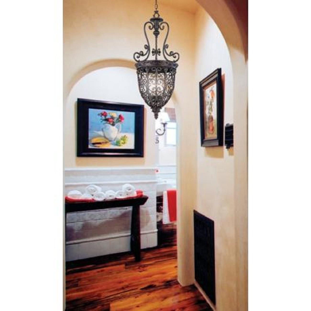 Open Scroll Foyer Chandelier : Vintage antique style rubbed bronze finish open scroll
