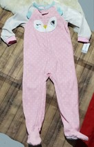 Carter's 1 pc Owl Footie Pajamas PJ's New Sz. 4T Footed Pink w/ Polka Dots - $12.59