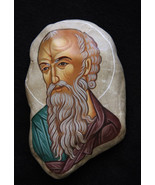 Two sided rock art  St. John the Theologian and Christ at the Mystical S... - $600.00