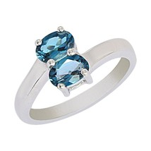 Blue Topaz Solid Band 925 Sterling Silver Jewelry Ring 8 SHRI0533 Free S... - €17,52 EUR