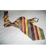 Vintage 1960s Mens  NeckTie Orange Stripe Brent - $7.95