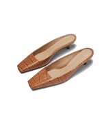 Toteme Beige Croc-effect Leather Mules - $238.00