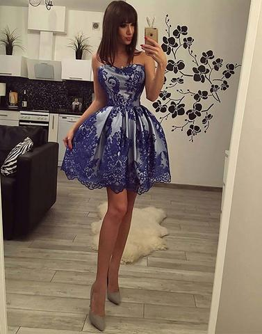 Blue lace sweetheart neck short prom dresses, lace homecoming dresses,PD2056
