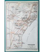 TUNISIA Plan of Ancient Carthage Site - 1911 BAEDEKER MAP - $18.00