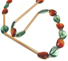 "ROSE NECKLACE AMBER GREEN ROUNDED DROPS OF MURANO GLASS TUBE ALTERNATE 40"" LONG image 3"