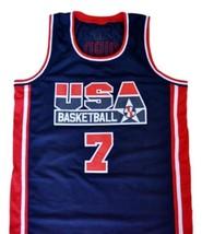 Shawn Kemp #7 Team USA New Men Basketball Jersey Navy Blue Any Size image 1