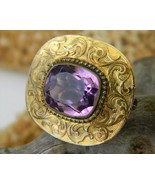 Antique Victorian Art Nouveau Amethyst Brooch Pin Gold Tone - €24,64 EUR