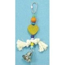 Bird Brianers Bird Toy w/ Rope Beads, Heart & Bell Assorted Colors - £2.49 GBP