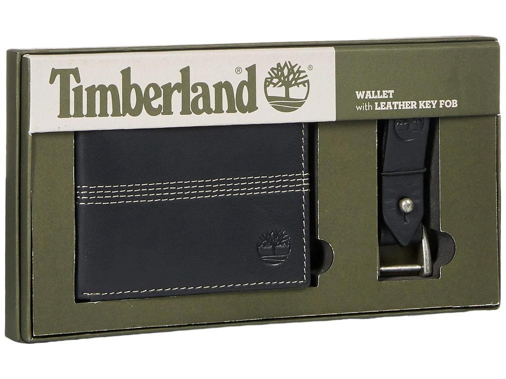 Timberland Men's Leather Slimfold Wallet Key Fob Gift Set Black NP0366/08