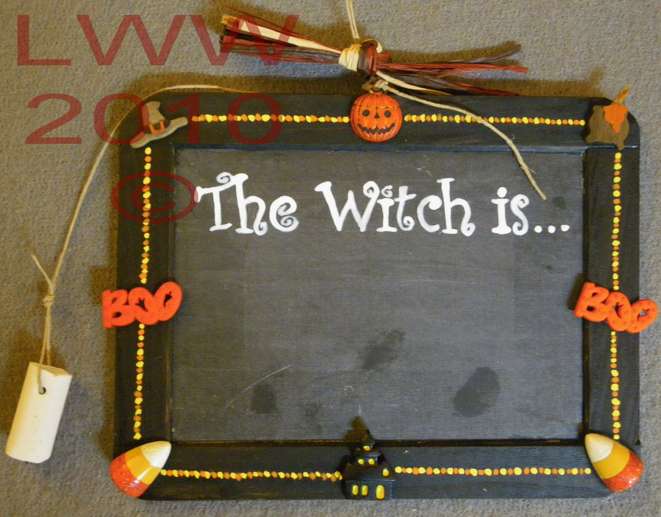 Halloween Handmade The Witch is... Chalk Board Sign New