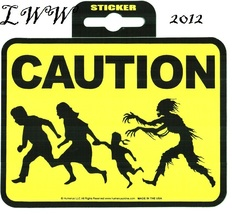 Yellow Caution Zombie Run Sticker Decal Halloween 3.5 by 4.75 inches big - $2.99