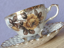 Vintage Napco Japanese iridescent porcelain yellow rose footed tea cup t... - $38.61