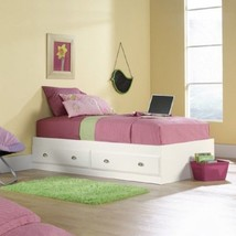 Bed For Girls Women White Twin With Under Bed Storage Drawers Bedroom Fu... - $214.95