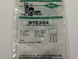 (12) NTE394 Silicon NPN Transistor Power Amp Hi Voltage Switch TO−3PN Lot of 12 - $59.99